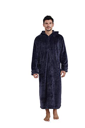 Westkun Unisex Morgenmantel Lang Bademantel mit Kapuze & Reißverschluss Premium Flanell Fleece Robe Warmer Hausmantel Nachtwäsche zum Damen & Herren(Marine A,3XL)