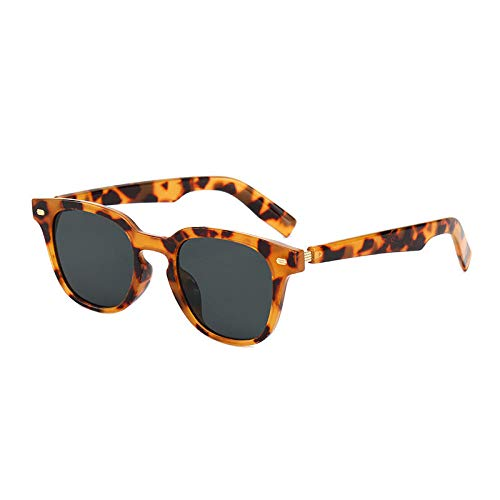 Gosunfly Gafas de sol Hombre Retro Rice Nail Toad Mirror Gafas de sol-Marco de leopardo / pieza gris