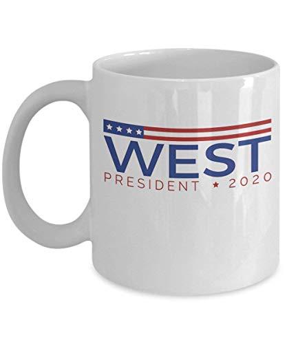 West für Präsident Kaffeebecher Tasse (weiß) Kanye West Geschenke Fans Art Merch Aufkleber Aufkleber Pin Poster Yeezy Zubehör Merchandise