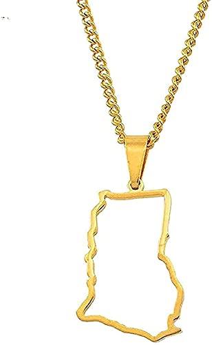 Collar Collar de Moda Collar Contorno Mapa del país Collares Pendientes para Mujeres Niñas Color Plateado/Color Dorado Encanto NA Joyería