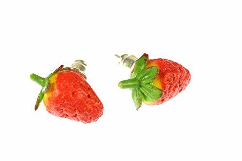 Miniblings Erdbeeren Obst Ohrstecker Beeren Frucht 3D rot spitz - Handmade Modeschmuck I Ohrringe Stecker Ohrschmuck