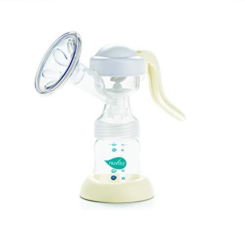 Nuvita 1211 Materno Easy Extractor de Leche Manual Individual - Sacaleches con cojín masajeador - incluye biberón - Libre de BPA - Marca Europea - Diseño Italiano