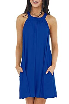 ReachMe Womens Casual Halter Neck Mini Dress Summer Sleeveless Swing Dress with Pockets  Royal Blue,M