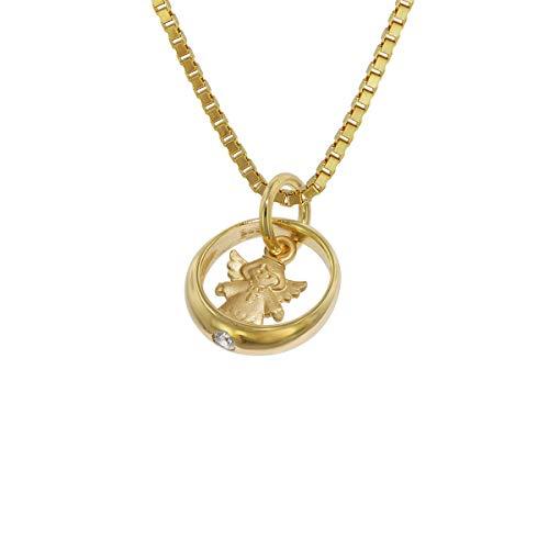 trendor Taufring mit Herzengel Gold 585 an plattierter Halskette zauberhafter Taufschmuck für Mädchen, Jungen oder Mütter, Geschenkidee zur Taufe, 75124