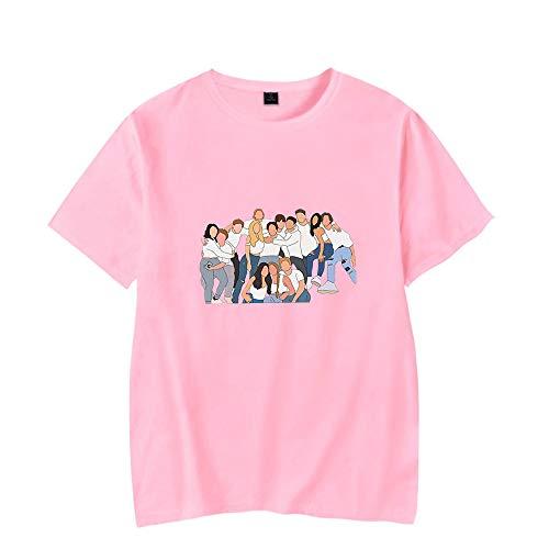The Hype House T-Shirt Hommes Femmes Imprimer À Manches Courtes Col Rond T-Shirts D'été Tops,Rose,M