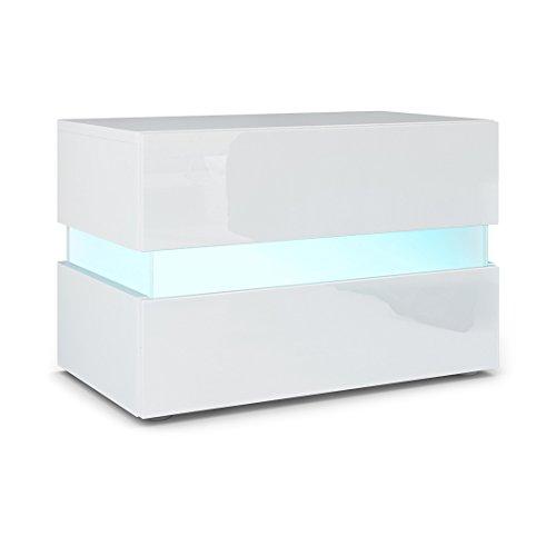 Vladon Nachttisch Nachtkonsole Flow, Korpus in Weiß matt/Front in Weiß Hochglanz inkl. LED Beleuchtung