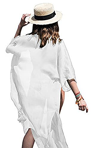 FOCUSNORM Saída de praia feminina de chiffon, modelo quimono, Branco, tamanho �nico