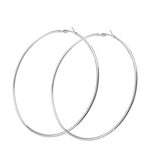 Gemini_mall Mode Frauen Große Creolen Aushöhlen Charms Schmuck Für Frauen Mädchen Hypoallergen Silber 10cm