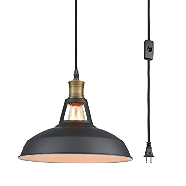 YOBO Lighting Industrial Plug-in Pendant Light with 9.8 Ft Cord and On/Off Switch