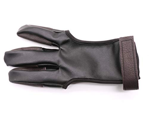 Archery Glove 3 Finger guard Cow Leather Shooting Protective Gear for Right...