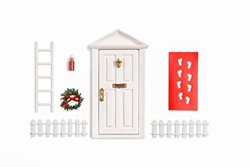 """White Wooden 7""""inch Miniature Door/ Enchanted Magical Fairy doors / Flower Fairies Secret Hidden Door for 3-8 yrs Child's Imagination"""