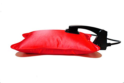 Happy Heat Electric Hot Water Bottle Rechargeable Heating Pad, Portable Hot Water Bag, Soft Fleece Cover, Red