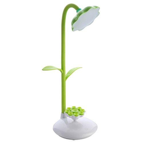 Mia nbaoshu Dimmbare verde LED Lámpara de escritorio para niños, Noche Lámpara de mesa con sensor táctil, per USB recargable de lectura flexible y 360 grados giratorios de soporte móvil (verde)