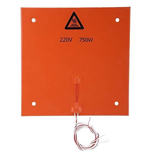 ASHATA 3D Printer Accessories, 3D Printer Silicone Hot Heated Bed Heating Pad 3D Printer Tools Silicone Heater Hotbed Mat Heated Bed Pad (220v 750w 310 * 310mm Punch)