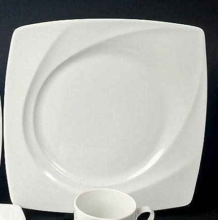 Preisvergleich für 6 Speiseteller Teller flach 27cm Madame Weiss Neu Eckig Porzellan 6 Personen