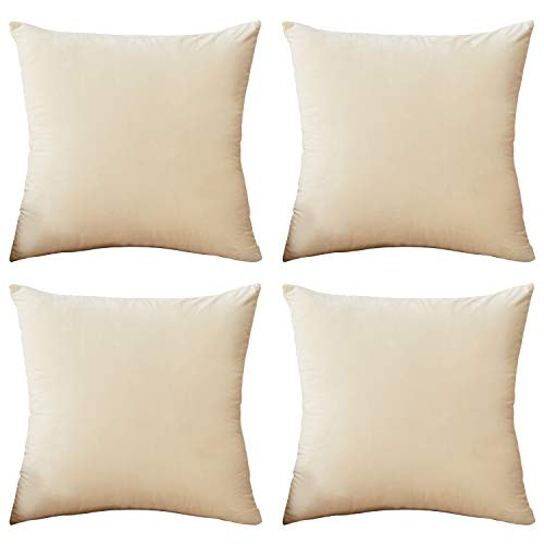 Rose Home Fashion Pack of 4 Throw Pillow Covers, Velvet Pillow Covers Decorative Square Pillowcase Cushion Cover for Sofa Couch, Cream Throw Pillow Covers, 20 x 20 Inch, Cream