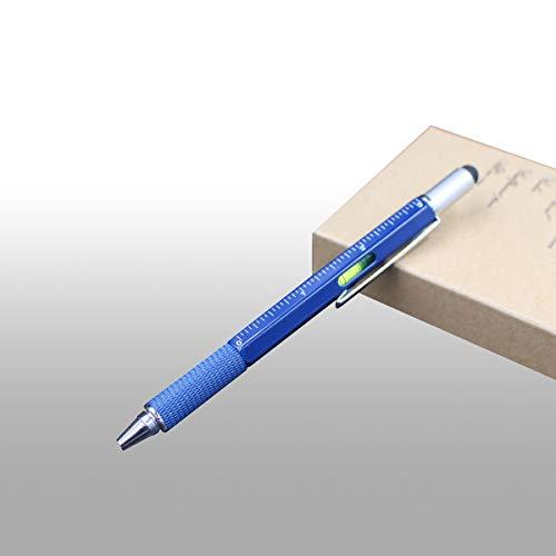 Screwdriver Pen 6-in-1 Multifunction Tool Pen Ruler, Spirit Level, Ballpoint Pen, Stylus, Flat Head or Phillips Screwdriver | Perfect Novelty Gift for Men (1, BLUE)