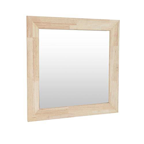 Adec - Natural, Espejo Cuadrado, Espejo de Pared, Marco de Madera de Roble Salvaje, Medidas: 70 cm (Alto) x 70 cm (Ancho) x 2 cm (Fondo)
