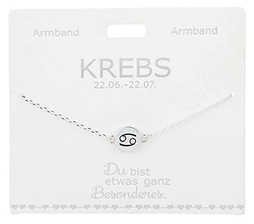 Pulsera para mujer con símbolo del zodiaco Cáncer bañado en plata, longitud variable (15 – 20 cm), ideal como regalo para tu pareja, novia, esposa
