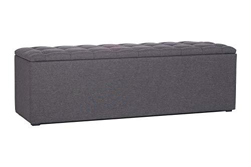 Bettbank King mit 150 Liter Stauraum in versch. Farben   Aufbewahrungstruhe für Boxspringbetten   Edle Sitzbank in 115 x 44 x 40 cm   Ausführung Anthrazit