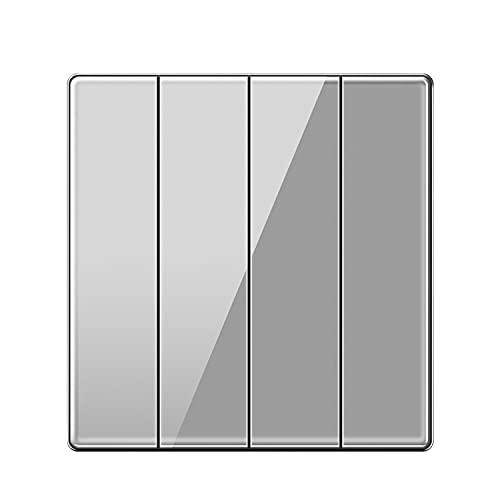 Yoaodpei Interruptor de Pared Tipo 86 Control Simple y Doble Panel Grande de Vidrio Gris Interruptor basculante Oculto para el hogar Controlador de energía de Panel Grande sin Marco