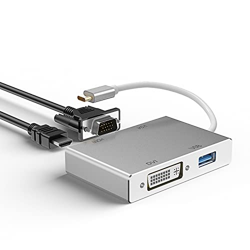 USB C auf HDMI Adapter,Huiheng USB 3.1 Type C zu DVI Videokonverter,4K 1080P VGA USB 3.0 Multiport Adapter for MacBook(Pro) Pro/Chromebook Pixel/Samsung Galaxy S8(Plus) to HDTV/ Monitors/ Projector