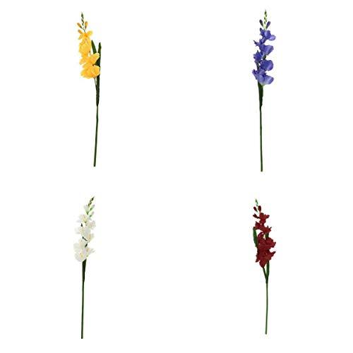 LOVIVER 4pcs Flores De Gladiolos Artificiales Hoja Decoración De La Boda En Casa Multicolor