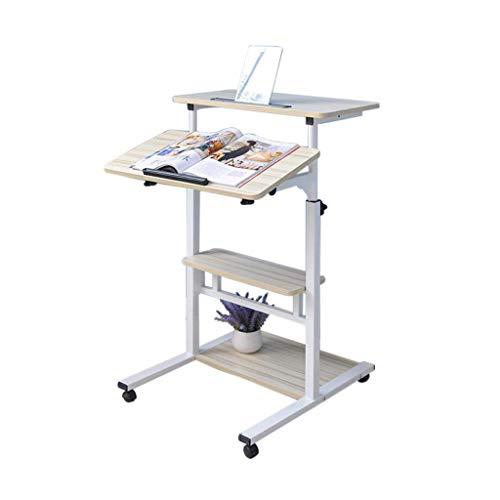 Vertikaler Notebook-Klapptisch Höhenverstellbare 4 Ablagetafeln Büro-Computer-Arbeitsplatz Moderner Haushaltstisch Roller (Farbe: Weiß, Größe: L)