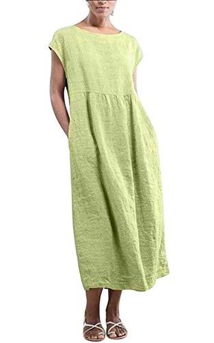 MAGIMODAC Shirtkleid Leinenkleid GR.36-50 Baumwolle Tunika T Shirt Kleider Freizeitkleid Sommerkleid Lang Ärmellos mit Taschen (Etikett 5XL/EU 50, grün)