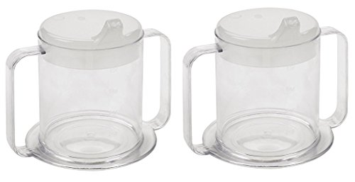Independence 2-Handle Plastic Mug with 2 Style Lids, Lightweight Drinking Cup with Easy-to-Grasp Handles for Hot and Cold Beverages, Spill-Resistant Adult Sippy Cup (2-Pack)