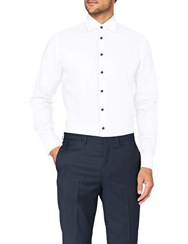Seidensticker Herren Shaped Langarm Uni Bügelfrei 3 Klassisches Hemd, Weiß, 39 EU