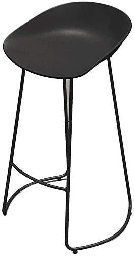 Taburetes de bar Taburetes de barra de hierro, silla de bar moderna, silla de plástico PP blanca / negra y andamios de hierro forjado, adecuados para contador, cocina de desayuno, 2 colores, taburete