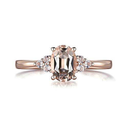 Beydodo Trauring Rotgold 750 Damen mit 0.75ct Oval Morganit Diamant Verlobungsring Rosegold Eheringe Nickelfrei Große 60 (19.1)