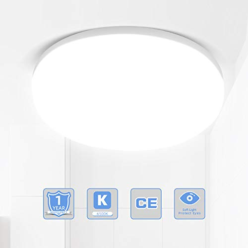 CANMEIJIA Led Ceiling Lights Flush Mount Fixtures 50W 8.6 inch Waterproof IP44 Daylight White 6500K for Kitchen/Bedroom/Hallway/Porch Lighting