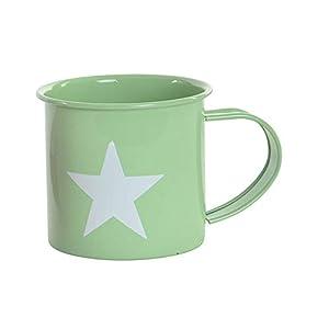 Taza/Mug de Desayuno realizada en Metal, con Dibujos de Estrella, de 360 ml. Diseño Industrial, con Estilo Vintage - Hogar y Más - Verde