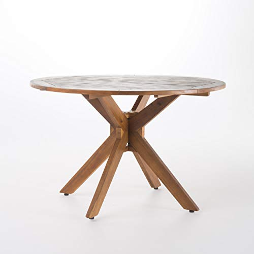 Christopher Knight Home Stamford Outdoor Acacia Wood Round Dining Table, Teak Finish