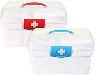 Empty First Aid Kit Family Medicine Chest Storage Box Household Plastic Drug Holder Case Medicine Cabinet (Red-Small Size)