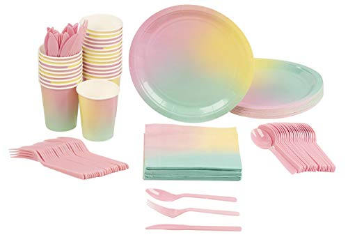 Rainbow Pastel Party Bundle, Includes Plates, Napkins, Cups, and Cutlery (24 Guests,144 Pieces)
