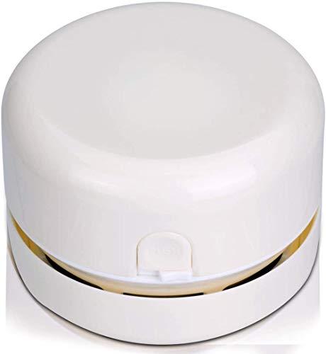 JUJ® Mini Desktop Tragbarer tragbarer kabelloser Tischkrümelkehrer Staubsauger Batteriebetrieben Weiß-Weiß