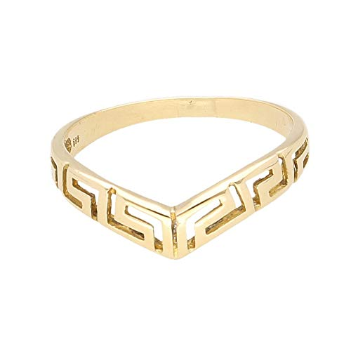 Women's 14Carat Yellow Gold Greek Key Wishbone Band (4mm Wide) | Luxury Ladies Ring
