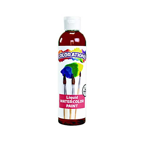 Colorations Liquid Watercolor Paint, 8 fl oz, Brown, Non-Toxic, Painting, Kids, Craft, Hobby, Fun, Water Color, Posters, Cool Effects, Versatile, Gift, LWBR