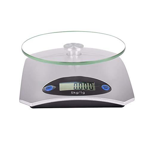 GYAM Digital Kitchen Weighing Scale Mini, LCD Display Multifunction Food Scale, Easy Clean and Overload Protection Function, for Baking and Cooking, 5KG/1g.