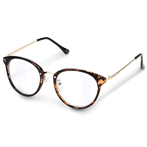 Navaris Retro Brille ohne Sehstärke - Damen Herren Vintage 50er Nerd Brille - Anti Blaulicht Computer Nerdbrille ohne Stärke - mit Metallbügeln