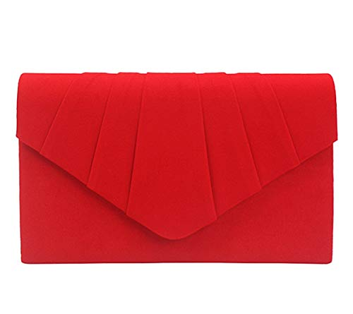 Material: Outer main fabric is soft velvet, lining material is smooth satin Stylish pleated suede evenlope clutch design, magnetic clasp, internal zipper pocket Dimensions: 8.6 x 5.5 x 2.1 inch, with detachable chain, 45 inches length can be as cross...