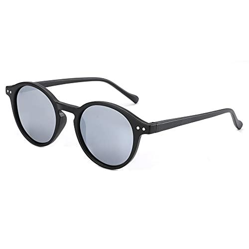 ZENOTTIC Gafas de sol Polarizadas Redondo Retrospectivo Cl¨¢sico Retrospectivo Lentes de sol Marco UV400 Para hombres y mujeres ¡ (NEGRO + PLATA Espejo)