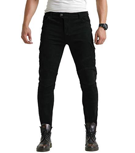 YuanDian Hombre Pantalon Vaquero Moto Jeans de Moto con Protecciones de Rodilla...