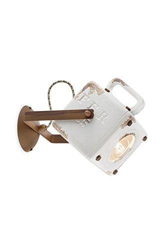 Ferroluce Retrò C1651-VIB Applique Industrial Lanterna E27, 53 W, Vintage Bianco