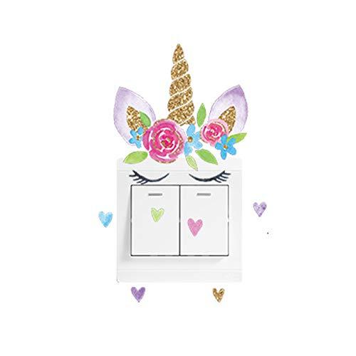 SUKOKOLA Farbe Einhorn Herzförmiger Wandaufkleber Lichtschalter Wandaufkleber Aufkleber Wandbild Inneneinrichtung Steckdose Aufkleber