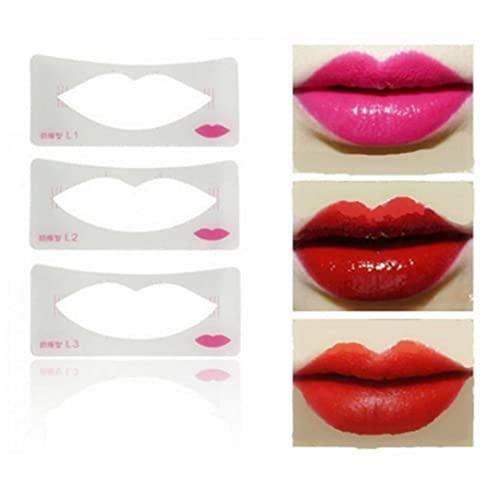 TOSSPER 3pcs Lip Liner Stockins Modèle De Peinture À Lèvres Femmes Lèvres Maquillage Maquillage Carte De Moulage Débutant Outils D'aide Cosmétique