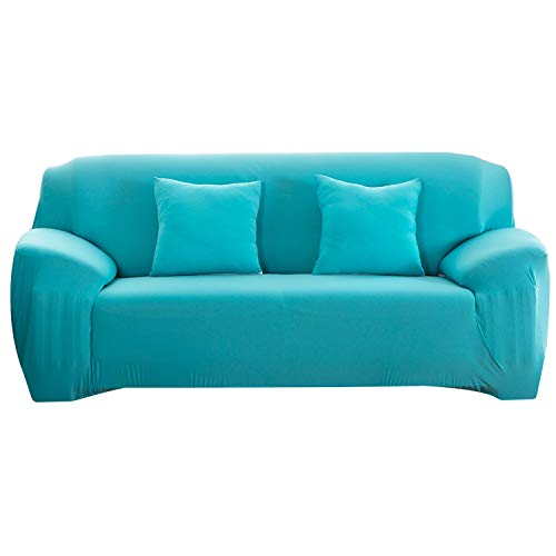 First Ring 2020 Funda de sofá de color sólido elástico universal funda de sofá todo incluido antideslizante fundas de sofá-Sky Blue-4 juego de sofá 235-300cm